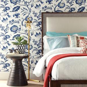 輸入壁紙 花柄ブルー ASHFORDTROPICS AT7021|decoall