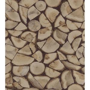 はじめてセット rasch 2020 輸入壁紙   130359 ブラウン 茶色 木目 丸太 薪  クロス 10m巻 DIY は がせる ドイツ製  国内在庫品|decoall