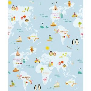 はじめての輸入壁紙DIYセット ドイツrasch(ラッシュ) 地図柄 水色 世界地図 イラスト 613315 クロス DIY rasch2019 はがせる|decoall