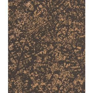 はじめての輸入壁紙DIYセット ドイツrasch(ラッシュ) 葉 葉脈 茶 ゴールド ダークグレー 光沢あり 801224 クロス DIY rasch2019 はがせる|decoall
