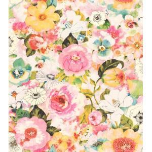 はじめての輸入壁紙DIYセット ドイツrasch(ラッシュ) 花 ピンク 黄色 マルチカラー 803549 クロス DIY rasch2019 はがせる|decoall