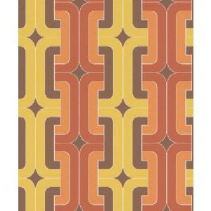 はじめての輸入壁紙DIYセット ドイツrasch(ラッシュ) オレンジ 黄色 幾何学 レトロモダン ジオメトリー 804812 クロス DIY rasch2019 はがせる|decoall