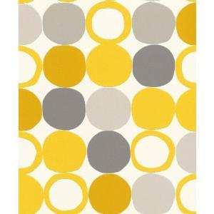 はじめての輸入壁紙DIYセット ドイツrasch(ラッシュ) 黄色 グレー 幾何学 北欧 丸 ドット レトロモダン 805116 クロス DIY rasch2019 はがせる|decoall
