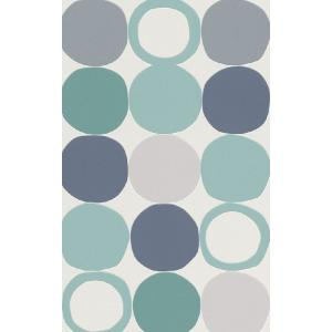 はじめての輸入壁紙DIYセット ドイツrasch(ラッシュ) 青 水色 幾何学 北欧 丸 ドット レトロモダン 805130 クロス DIY rasch2019 はがせる|decoall