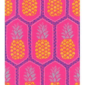はじめての輸入壁紙DIYセット ドイツrasch(ラッシュ) パイナップル ハワイアン ビッビットカラー ピンク 果物 862126 クロス DIY rasch2019 はがせる|decoall