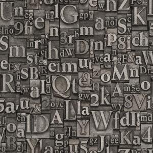 はじめての輸入壁紙DIYセット ドイツrasch(ラッシュ) アルファベット 数字 グレー シルバー  940015 クロス DIY rasch2019 はがせる decoall