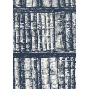 輸入壁紙  ESPOIR NEW AGE  国内在庫 HO3317  本 本棚 ネイビー モダン YORK テシード DIY |decoall