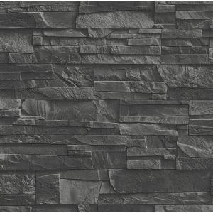 rasch ラッシュ 壁紙 438307 475036 レンガ調 平積み ブラック  輸入 クロス DIY|decoall