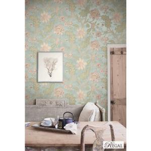 輸入壁紙 TECIDO REGAL 花柄ブルー R0103|decoall