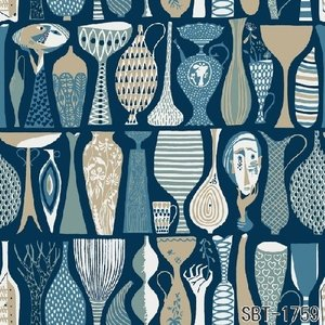 輸入壁紙 SBT-1759  ブルー 人 花瓶 壺 スティグ・リンドベリ POTTER スウェーデン クロス 10m|decoall