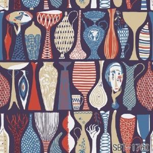輸入壁紙 SBT-1760  紺 赤 人 花瓶 壺 スティグ・リンドベリ POTTER スウェーデン クロス 10m|decoall