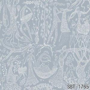 輸入壁紙 SBT-1765  ブルーグレー 人 鳥 スティグ・リンドベリ POEM D'AMOUR スウェーデン クロス 10m|decoall