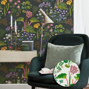 輸入壁紙 SBT-1791 カラフル ブラック 草花 GOCKENJOBS ABARBER スウェーデン クロス 10m|decoall