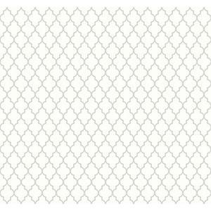 輸入壁紙 TECIDO(テシード) 幾何学柄 Lattice ホワイト×シルバー|decoall