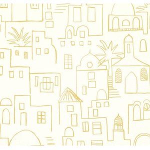 PICTUREBOOK W569-02 マスタード 黄土色 建物 風景 キッズ 子供部屋 絵本 クロス 貼って剥がせる 10m|decoall