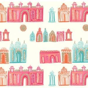 PICTUREBOOK W570-01 カラフル お城 建物 キッズ 子供部屋 絵本 クロス 貼って剥がせる 10m|decoall