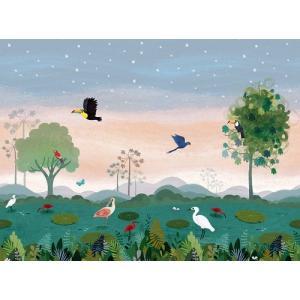 PICTUREBOOK W574-01 DUSKY AMAZON 輸入壁紙 クロス DIY パネルタイプ アマゾン 熱帯雨林 鳥 キッズ 子供部屋 絵本 貼って剥がせる 18m巻|decoall