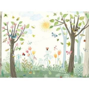 PICTUREBOOK W575-01 BUSY BUZZY 300cm×300cm パネルタイプ 森林 昆虫 花 キッズ 子供部屋 絵本 貼って剥がせる 18m巻|decoall
