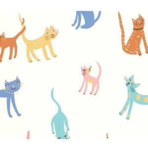 PICTUREBOOK W580-01 マルチカラー キャット 猫 キッズ 子供部屋 絵本 クロス 貼って剥がせる 10m|decoall