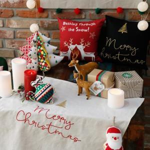 【40%OFF】【生地・布】刺繍入りカットクロス Merry Christmas クリスマス ハーフリネン生地【メール便対応】|decollections