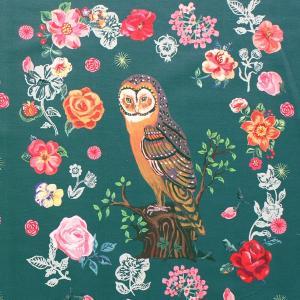 生地・布 ≪ Greeny owl ≫ オックス/幅148cm/パネル生地 ナタリーレテ/Nathalie Lete 【リピート単位販売】【5点までメール便対応】|decollections