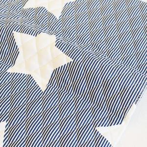 ストライプ×星柄のデザイン『 Navy star(ネイビースター)』。  濃い紺色と白の細かなストラ...