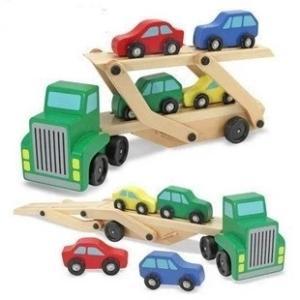 木製知育玩具 レッカー車 キャリアカー 働く車|decopartsfactory