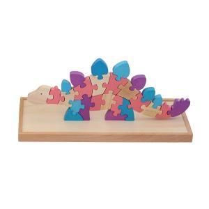 木製パズル 恐竜 ステゴザウルス アルファベット AtoZ 知育玩具 積み木 組み合わせ|decopartsfactory