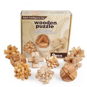 木製 知育玩具 立体パズル 3D 9個組 Bセット|decopartsfactory