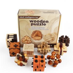 木製 知育玩具 立体パズル 3D 9個組 Cセット|decopartsfactory