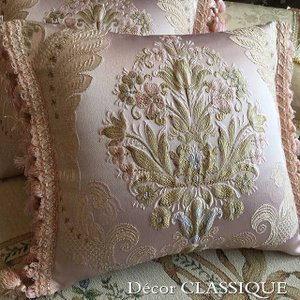2個セット:フリンジ付きクッション エレガンティール ピンク系 Decor CLASSIQUE|decor-classique