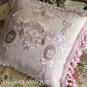 フリンジ付きクッション 淑女の扇とフルールドリスボゥ ピンク系 Decor CLASSIQUE|decor-classique