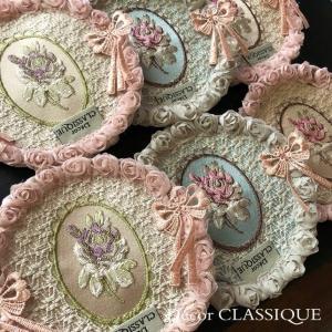 グラスマット・コースター・エレガントローズシリーズ:4色: Decor CLASSIQUE decor-classique