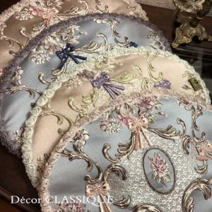 オーバルマット・ティーマット・エレガントローズシリーズ  リボン付き Decor CLASSIQUE|decor-classique