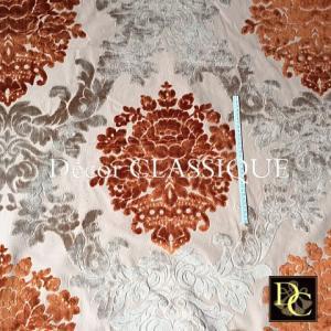 SALE 1/31まで:ヴィンテージベルベットダマスクファブリック:ライトブラウン&グレー:巾150cm:70cm単位|decor-classique