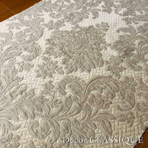 SALE 1/31まで:マトラッセダマスクファブリック:グレージュ:巾140cm x 長さ62cm単位|decor-classique
