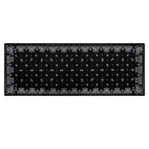 シェニール織ペイズリー柄インテリアマット ブラック 45×120cm 足元マット・玄関マット・キッチンマットの写真
