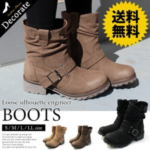 送料無料 ブーツ エンジニアブーツ レディース 靴 ミドル ラウンドトゥ ルーズ 厚底 黒 ブラック シンプル / 32-6417701 decorate