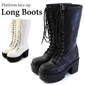 送料無料 ブーツ レディース 厚底 黒 白 ロングブーツ 大きいサイズ 太ヒール コスプレ / 74-64ys1061|decorate