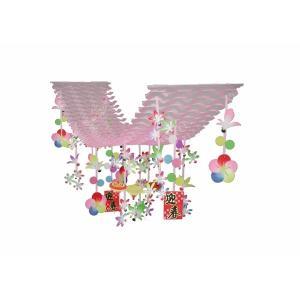 スリーミニ羽根迎春プリーツハンガー(1101606)[正月 飾り 販促グッズ 店内装飾 プリーツハンガー] decorationlabo