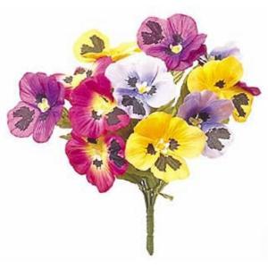 パンジーブッシュ *12(ミックス)(FLB0825)[パンジー 造花 ブッシュ 束 アートフラワー]|decorationlabo