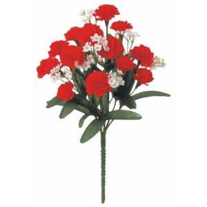 カスミカーネーションブッシュ *14(レッド)(FLB0866RD)[カスミカーネーション カスミ草 カーネーション 造花 ブッシュ 束 アートフラワー]|decorationlabo