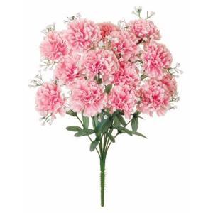 《光触媒》 カスミカーネーションブッシュx14(ピンク)[造花 ブッシュ 束 アートフラワー 光触媒]|decorationlabo