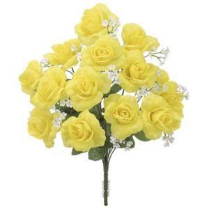 カスミローズブッシュ(L) *14(FLB8008L)[カスミローズ カスミ草 ローズ バラ ばら 薔薇 造花 ブッシュ 束 アートフラワー]|decorationlabo
