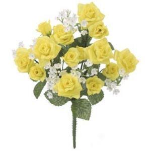 カスミローズブッシュ(S) *14(FLB8008S)[カスミローズ カスミ草 ローズ バラ ばら 薔薇 造花 ブッシュ 束 アートフラワー]|decorationlabo