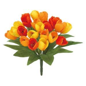 オランダチューリップブッシュ *21(オレンジ)(FLB8104OR)[オランダチューリップ チューリップ 造花 ブッシュ 束 アートフラワー]|decorationlabo