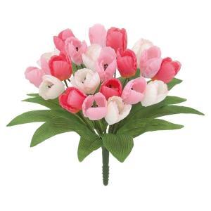 オランダチューリップブッシュ *21(ピンク)(FLB8104PK)[オランダチューリップ チューリップ 造花 ブッシュ 束 アートフラワー]|decorationlabo