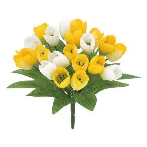 オランダチューリップブッシュ *21(イエロー)(FLB8104YL)[オランダチューリップ チューリップ 造花 ブッシュ 束 アートフラワー]|decorationlabo