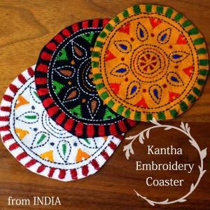 ( POINT! ) *ラッピング対応*  ベンガル地方の伝統的な刺繍「カンタ刺繍」のコースター。 ...