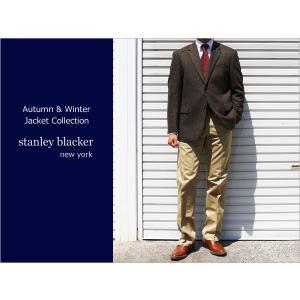 秋冬新品 スタンリーブラッカー stanley blacker ホームスパン 茶系ダークブラウン杢 ナチュラル・ストレッチ 2ボタンジャケット (AB/BB体)|decte